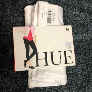 HUE Soft Cotton White Sz M(8-10) Capris